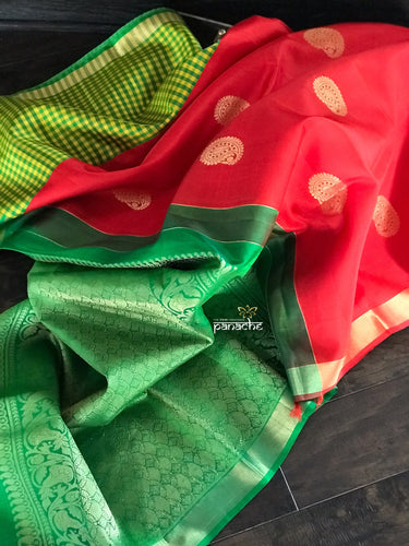 Silk Kanjivaram - Red Green Paisley