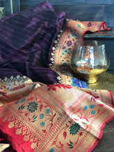 Pure Katan Silk Banarasi - Black Purple Paithani Border