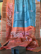 Pure Tussar Silk Kantha Stitch - Grey Rust