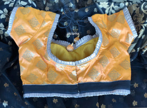 Designer Blouse - Bright Yellow Diamond Motif