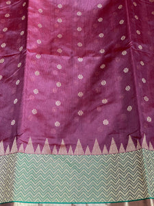 Pure Chanderi Silk - Brown Plum Green Golden Silver Zari Woven