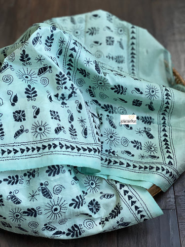 Pure Silk Dupatta - Mint Blue Kantha Stitch