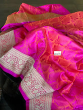 Tanchoi Silk Banarasi - Hot Pink Orange Golden Yellow Magenta