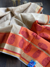 Cotton Silk - Beige Orange Motifs