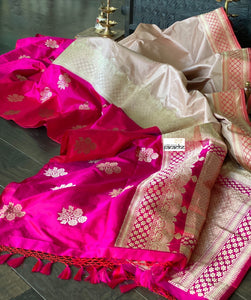 Pure Katan Silk Banarasi - Dirty Pink Hot Pink Kadwa woven