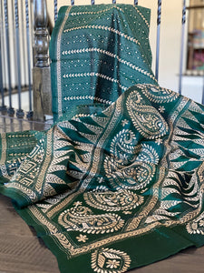 Pure Bangalore Silk Kantha Stitch -  Dark Green