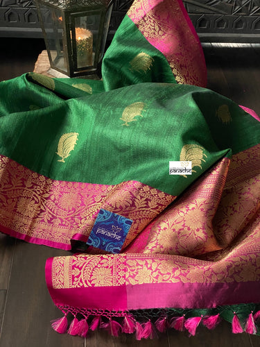 Tussar Silk Banarasi - Green Magenta Antique Golden Zari
