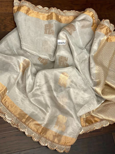 Designer Pure Tissue Silk - Silver Golden Elephant woven