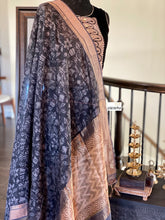 Printed Muga Silk - Black Golden Zari