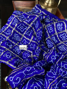 Pure Gajji Silk Gharchola - Purplish Blue Bandhej