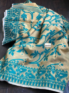 Soft Jamdaani  - Cream Beige Blue