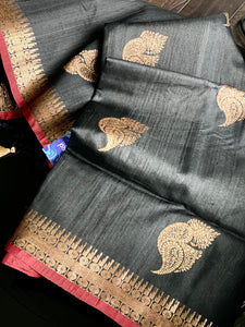 Tussar Silk Banarasi - Black Red