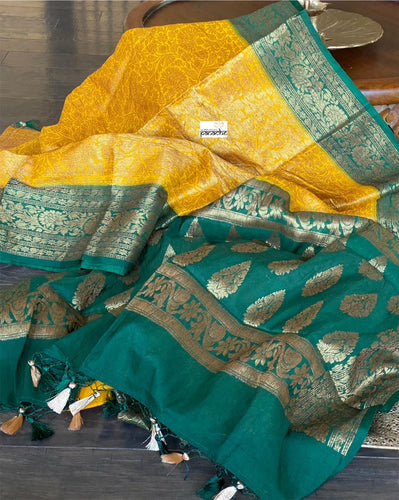 Soft Silk Tanchoi Banarasi - Yellow Green