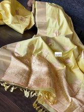 Pure Silk Muga Banarasi - Lemon Yellow Antique Zari