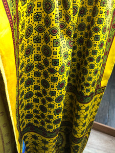 Stole Ajrakh Print - Yellow Green Maroon