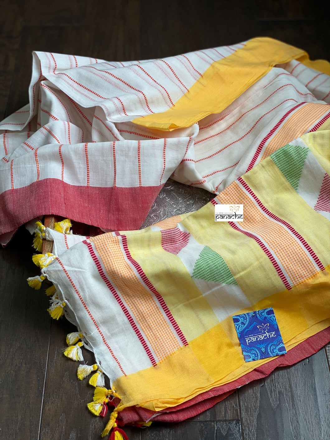 Pure Khadi Handloom - Off White Yellow Red Border