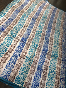 Tussar Silk - Printed Offwhite Firozi Royal Blue