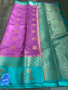 Muga Silk Banarasi - Purple Sea Green