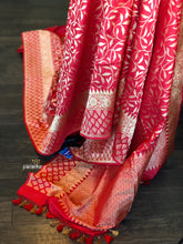 Pure Silk Katan Banarasi - Red Golden Zari