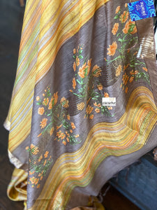 Printed Muga Silk - Yellow Mauve Brown