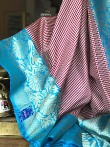 Katan Silk Banarasi - Off-white Purple Checks