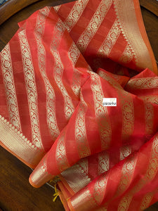Silk Cotton Dupatta - Orange Golden Zari