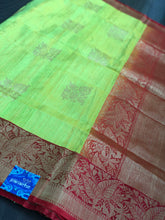Tussar Silk Banarsi - Fluorescent Green Red