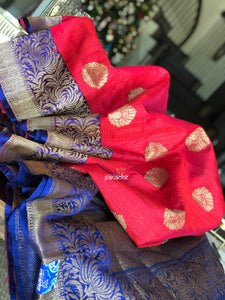 Tussar Silk Banarasi - Red with Pink Hue and Blue