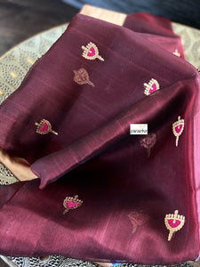 Pure Chanderi Katan Silk - Burgundy Golden Zari