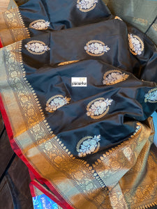 Exclusive Katan Silk Banarasi - Black Red Kadwa Woven