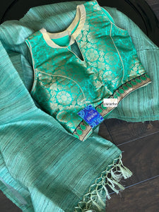 Designer Blouse - Green Brocade