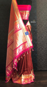Silk Brocade Banarasi - Reddish Rust Antique Golden Zari