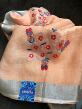 Linen Embroidered - Peach Silver Zari