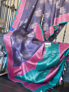 Tussar Georgette Banarasi- Purple Teal Green