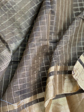 Chanderi Cotton Silk - Greenish Brown Zari checks