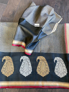 Pure Cotton Banarasi - Black Grey Red Khadwa Woven