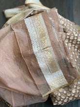 Silk Cotton Jamdaani Kora Banarasi - Light Mocha Brown