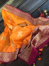 Katan Silk Banarasi - Orange Magenta