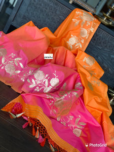 Soft Silk Banarasi - Orange Pink Zari woven