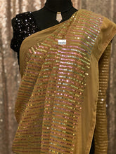 Designer Georgette Saree Blouse Set - Light Brown Sequin