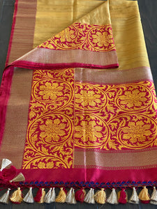 Tussar Silk Banarasi - Golden Yellow Red