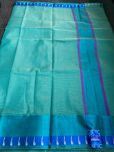 Cotton Silk Banaras Chanderi - Sea Green Dual Shaded