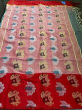 Pure Khadi Cotton Handloom - Grey Red Woven