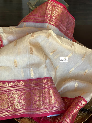 Pure Chanderi Tissue Katan Silk - Golden Beige Red 3