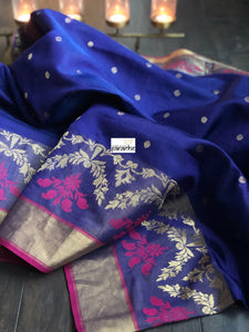 Pure Chanderi Silk - Navy Blue Purple Dual Shaded