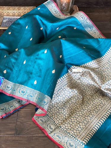 Tussar Silk Banarasi - Teal Blue Antique Golden Zari