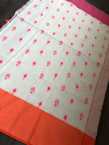Pure Khadi Cotton Handloom - Beige Pink Orange Woven