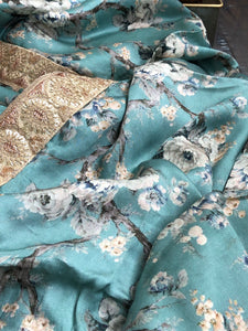 Designer Floral Satin Silk - Teal Blue