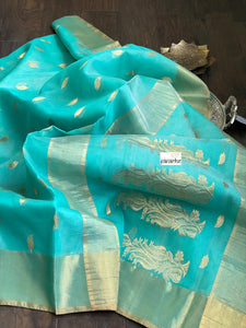 Chanderi Katan Silk -Yellowish Peach Golden Zari