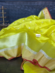 Pure Chanderi Silk - Lemon Yellow Golden Silver Zari Woven